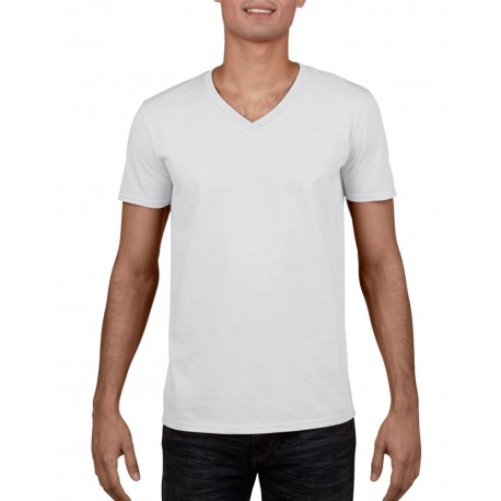 camisetas GILDAN cuello v blanca